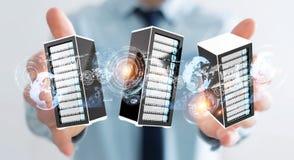 Rendu se reliant du centre de traitement des données 3D de pièce de serveurs d'homme d'affaires Photo stock