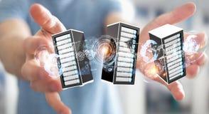Rendu se reliant du centre de traitement des données 3D de pièce de serveurs d'homme d'affaires Photos libres de droits