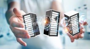 Rendu se reliant du centre de traitement des données 3D de pièce de serveurs d'homme d'affaires Photographie stock