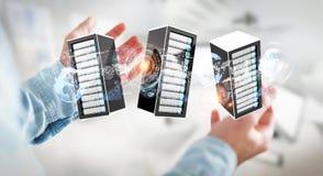 Rendu se reliant du centre de traitement des données 3D de pièce de serveurs d'homme d'affaires Photographie stock libre de droits