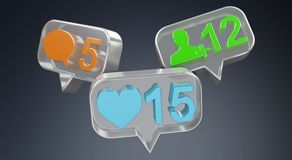 Rendu social coloré des icônes 3D de media de Digital Photographie stock libre de droits
