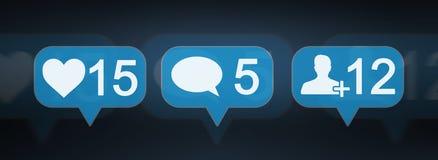 Rendu social coloré des icônes 3D de media de Digital Photos libres de droits