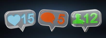 Rendu social coloré des icônes 3D de media de Digital Photographie stock