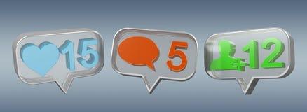 Rendu social coloré des icônes 3D de media de Digital Images libres de droits