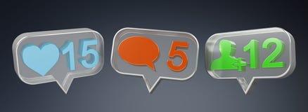 Rendu social coloré des icônes 3D de media de Digital Image libre de droits