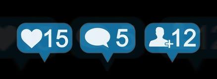 Rendu social coloré des icônes 3D de media de Digital Image stock