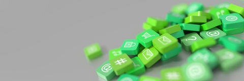 Rendu social des icônes 3d de media Photo libre de droits