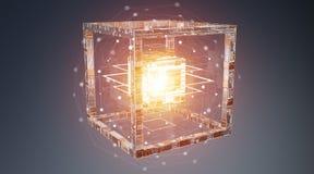 Rendu texturisé de l'objet 3D de technologie futuriste de cube Photos libres de droits