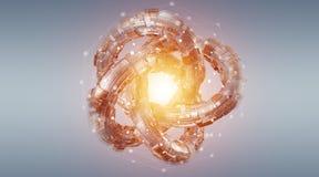 Rendu texturisé de l'objet 3D de technologie futuriste de tore Image stock