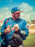 Rene Rivera New York Mets firma autógrafos Imagenes de archivo