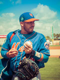 Rene Rivera New York Mets Signs Autographs. Catcher Rene Rivera for New York Mets signs autographs during spring training game in Jupiter Florida stock images