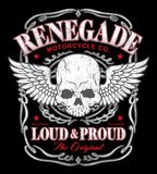 Renegade winged skull graphic. Outlaw biker-inspired skull graphic.  Available in eps vector for easy editing Stock Photo