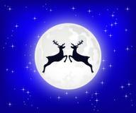 Renen hoppar mot bakgrunden av månen stock illustrationer