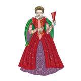 Renesansowa kobiety moda royalty ilustracja