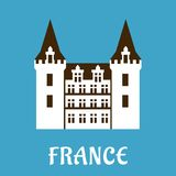 Renesansu kasztel z wieżyczkami, Francja Obraz Royalty Free