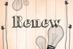 Renew against light bulb on wooden background. The word renew against light bulb on wooden background vector illustration