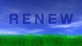 RENEW, Green Grass & Blue Sky Stock Photography