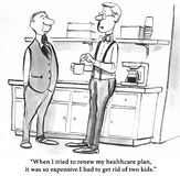 Renew Healthcare Insurance. Black and white health cartoon about trying to renew expensive health insurance Royalty Free Stock Photo
