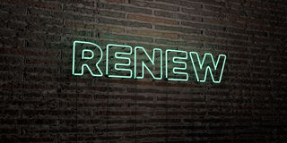 RENEW -Realistic Neon Sign on Brick Wall background - 3D rendered royalty free stock image. Can be used for online banner ads and direct mailers Stock Image