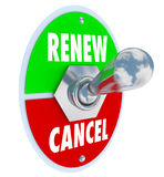 Renew Vs Cancel Words Product Service Renewal Cancellation. Renew Vs Cancel words on a toggle switch offering the choice for renewal or cancellation of a product vector illustration