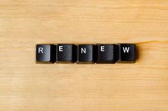 Renew word. With keyboard buttons Stock Photography