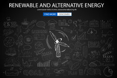 Renewable and Alternative Energy concept with Doodle design style Royalty Free Stock Images