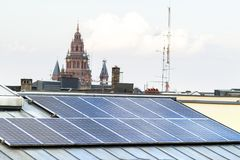 Renewable clean green energy saving efficient solar panels on  s Stock Photos