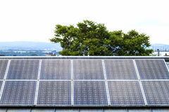 Renewable clean green energy saving efficient solar panels on  s Stock Image