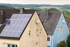 Renewable clean green energy saving efficient solar panels on  s Stock Photography