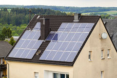 Renewable clean green energy saving efficient solar panels on  s Stock Image