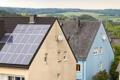 Renewable clean green energy saving efficient solar panels on  s Royalty Free Stock Image