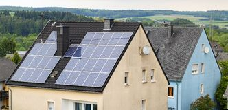 Renewable clean green energy saving efficient solar panels on  s Stock Images
