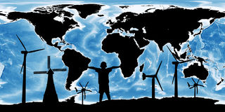 Renewable concept save the world ,wind turbine on map the earth Stock Photos