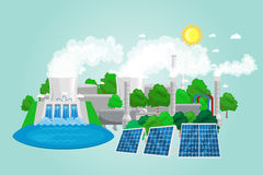 Renewable ecology energy icons, green city power alternative resources concept, environment save new technology, solar Stock Photos