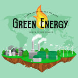 Renewable ecology energy icons, green city power alternative resources concept, environment save new technology, solar Stock Image