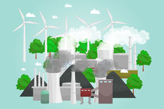 Renewable ecology energy icons, green city power alternative resources concept, environment save new technology, solar Royalty Free Stock Photos