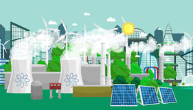 Renewable ecology energy icons, green city power alternative resources concept, environment save new technology, solar Royalty Free Stock Image