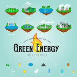 Renewable ecology energy icons, green city power alternative resources concept, environment save new technology, solar Royalty Free Stock Photo