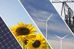 Renewable energies collage. A collage of renewable and alternative energy sources with solar panel, sunflowers, windmills and electricity infrastructure royalty free stock photo