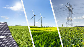 Renewable energies concept collage Stock Image