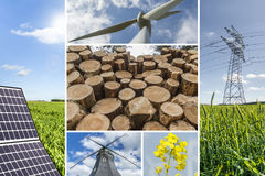 Renewable energies concept collage. With solar panel, wind mills, woods, raps and electrical energy infrastucture Stock Image