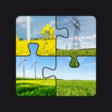 Renewable Energies Concept Puzzle Collage. Abstract Landscape Background With Power Elements royalty free stock photo