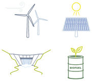 Renewable energies icons. Icon set representing the main Renewable energies, solar, wind, water and biomass Stock Images