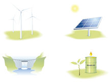 Renewable energies. Illustrations representing the main Renewable energies, solar, wind, water and biomass Stock Images