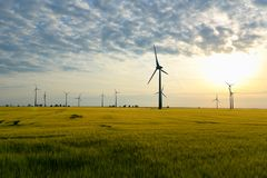 Renewable energies - power generation with wind turbines in a wi. Nd farm stock photo