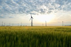 Renewable energies - power generation with wind turbines in a wi. Nd farm stock photography