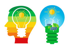 Renewable energies sources. Male head with bulb and bulb with solar panels and wind turbine.Vector available Stock Images