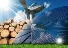 Renewable Energies Sources - Wind Solar Biomass. Renewable energies sources - Wind energy with a wind turbine, solar energy with a solar panel, biomass with a stock image