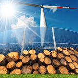 Renewable Energies Sources - Wind Solar Biomass Royalty Free Stock Image