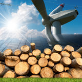 Renewable Energies Sources - Wind Solar Biomass Royalty Free Stock Photos